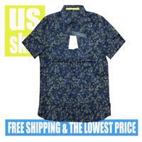 Perry Ellis Men's NWT STRETCH Dark Sapphire Button Up Short Sleeve Shirt XL