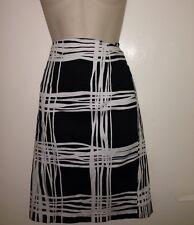 Women Black And White Geometric Stripe Pencil  Knee Length  Skirt Size 10