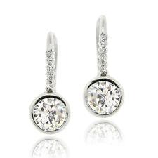 925 Sterling Silver 1.78ct CZ Bezel Set Drop Earrings