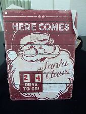 New COUNTDOWN TO CHRISTMAS Wood Advent Calendar!  RED & WHITE!  NWT!  SANTA!