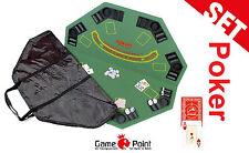 """Pokerset: Pokerauflage """"Gambler"""" inkl. Tasche mit Turnier-Spielkarten Modiano"""