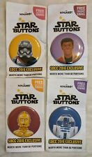 """Set of 4 Star Wars 2.5"""" Buttons SDCC 2016 on cards R2D2, C3PO, Cap Phasma, Finn"""