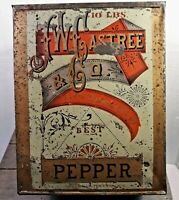 ANTIQUE VTG GENERAL STORE BULK SPICE TIN 10 lbs PEPPER LARGE TIN JWC ASTREE 5/20