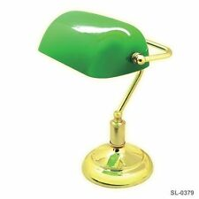 New Bankers Table Lamp Desk Brass Finish Green Adjustable Shade Classic Library