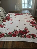 Vintage Floral Tablecloth Shabby Cottage Chic Red Pink  Roses Terrycloth White