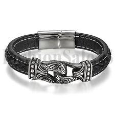 Mens Vintage Totem Leather Wrap Stainless Steel Magnetic Clasp Bangle Bracelet