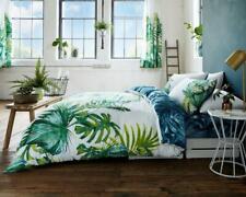 Tropical Leaf Botanical Duvet Quilt Cover & Pillow Case Bedding Set Green White
