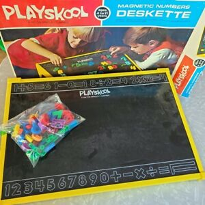 Vintage 1971 Playskool Deskette Magnetic Colorful Numbers Letters Alphabet Box