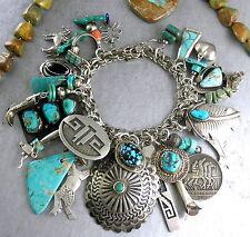 150g SIGNED 26 Charms Navajo Hopi Santo Domingo Turquoise Charm Bracelet