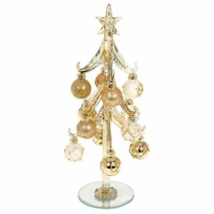 Large Classic Gold Glass Christmas Tree with Gold and Cream Jewelled Baubles