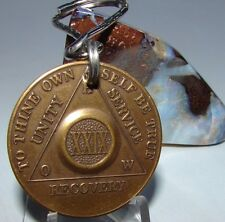 Alcoholics Anonymous AA 29 Year Bronze  Medallion Keychain Token coin chip Sober