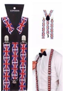 Union Jack adjustable Braces 25mm Unisex elastic Y-Back Suspender clip on   Z