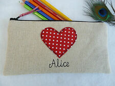 Handmade Personalised Heart Pencil Case, choice of wording Red polka dot & linen