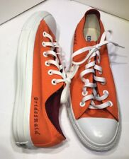 Orange / White Converse All Stars with Embroided Bridesmaid Wedding size 10