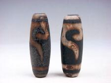 Lot Of 2 Old Tibetan Natural Gemstone Agate *Ru-Yi Hooks* Dzi Beads #01052103R