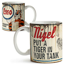 Personalised ESSO TIGER MUG Oil Can Retro Car Garage Mechanic Cup Dad Gift OCM05