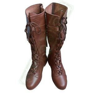 Medieval Fantasy Boots Forest Brown Leather shoes Reenactment Men's Riding Boot