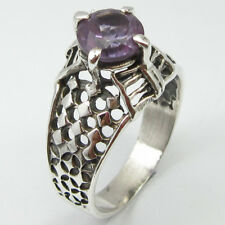 925 Solid Sterling Silver Round AMETHYST HANDMADE Ring Size 7.5 ! Bijoux