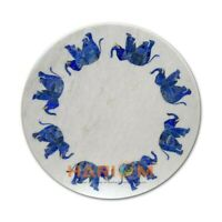 18'' White Marble Coffee Top Table Lapis Elephant Stone Inlay Office Decor W328