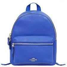 NWT Coach Mini Charlie Backpack in Pebble Leather 38263 Silver / Lapis