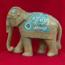 12'' Marble Inlaid Stone Elephant Figurine Turquoise Mosaic Hallway Decor H3763