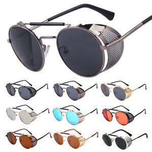Retro Steampunk Sunglasses Side Shield Vintage Metal Round Eyewear Glasses Gafas