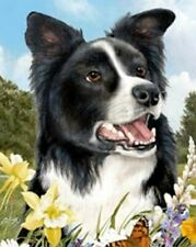 Outdoor Small Flag Border Collie Dog Summer Flowers Garden Flag