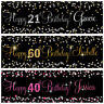 2 personalised birthday banner Silver Gold Pink party wedding celebration poster