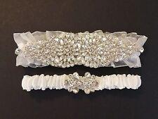 Wedding garter, Bridal Garter Set - ALMOSTE WHITE CRYSTAL Garter Set