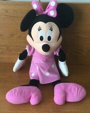 """Large Minnie Mouse Plush 28"""" Tall Pink Dress Bow With Dot Pink Shoes Disney"""