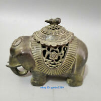 L66 Collect Old Chinese Bronze Hand-carved Elephant Statue Incense burner