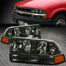 FOR 1998-2004 CHEVY BLAZER/S10 PAIR SMOKED HOUSING AMBER CORNER HEADLIGHT/LAMPS