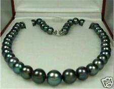 Exquisite 10-11mm Tahitian black AAA pearl necklace 18 inch