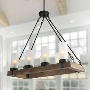 LNC Farmhouse Wood Chandelier Rustic Rectangular Light Fixture with Frosted G...