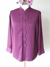 B6 MARKS & SPENCER SIZE 18 PLUM ORIENTAL STYLE LONG SLEEVES BLOUSE WITH BUTTONS
