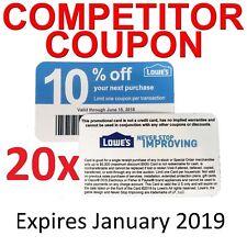 20ⅹ Lowes 10% ᴏff Competitor Oɴʟʏ Coupon Cᴀʀᴅs | Home Depot | ᴇxp 5/15/2019