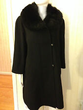 St. John Fur Black Coat Cashmere Size Medium Removable Fox Collar