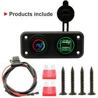 Dual USB Charger Power Socket LED Display Voltmeter Panel for Car Boat RV 12/24V