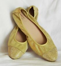 Patricia Green Starr Golden Leather Studded Ballet Shoes Size 8