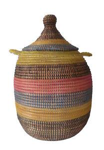 Panier Africain à linge Senegal à couvercle multicolor artisanat Afrique