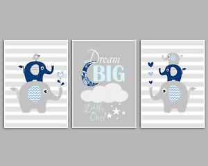 3 Wall Art Nursery Prints Dark Blue & Grey Elephant Stacks Boys Room Pictures