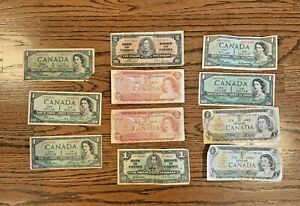 Old Canadian currency From George VI to Elisabeth II - Circulated - 11 Notes