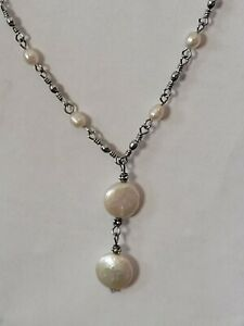"White Pearl Station Necklace Silver 16"" + 2 extended chain"