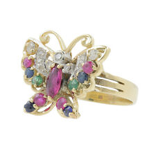 Ladies Estate 14K Yellow Gold Red Spinel, Blue Topaz & Diamond Butterfly Ring