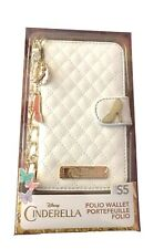 Cinderella Folio Wallet Fits Galaxy S5 White Quilted Design with Metal Charms