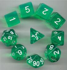 NEW RPG Dice 10pc - Translucent Lite Green - 1 @ D4 D8 D10 D12 D20 D00-10 & 4 D6