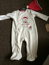 Mothercare My First Christmas Unisex Babygrow With Hat 3-6m BNWT Baby Boys/girls