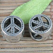 6pcs tibetan silver color peace symbol spacer beads EF0260