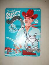 Vintage NEW Aluminum Handcuff & Badge Ca 1950s Junior Deputy Sheriff NOS Antique