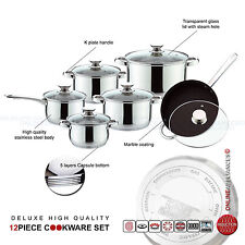 S/S DELUXE QUALITY CASSEROLE SAUCEPAN STOCK POT FRY PAN INDUCTION COOKWARE SET
